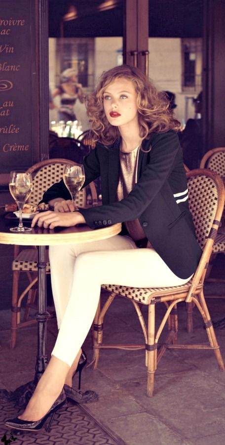 Frida Gustavsson - Neiman Marcus. LOVE this outfit. White slim pants, copper silk tank, navy blazer, brown hair, deep wine red lipstick - love!