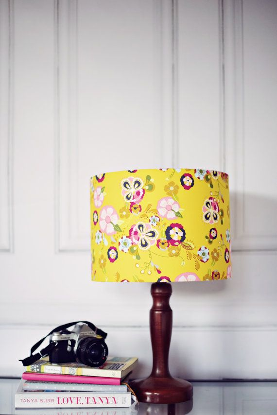 Yellow lampshade Yellow floral lamp mustard by ShadowbrightLamps