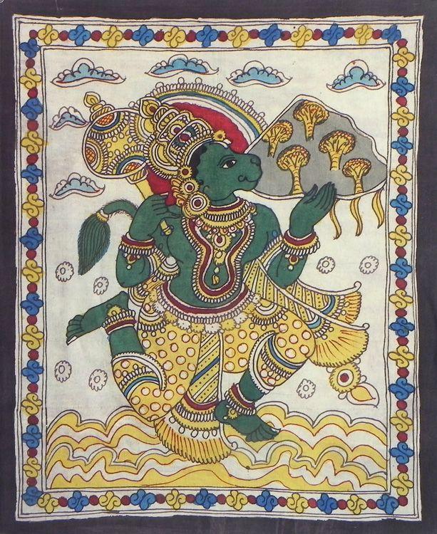 Hanuman Carrying Gandhamadan Parvat (Kalamkari Paintings on Cotton - Unframed))