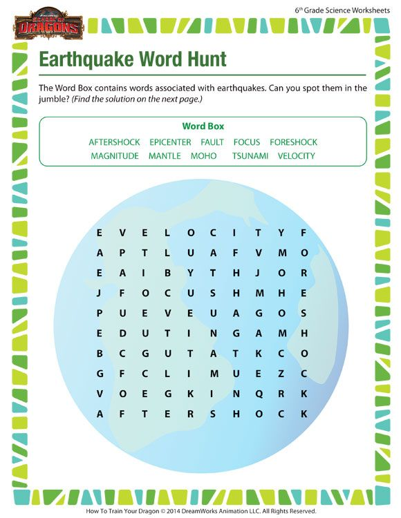 Earthquake Word Hunt Free 6th Grade Science Worksheet