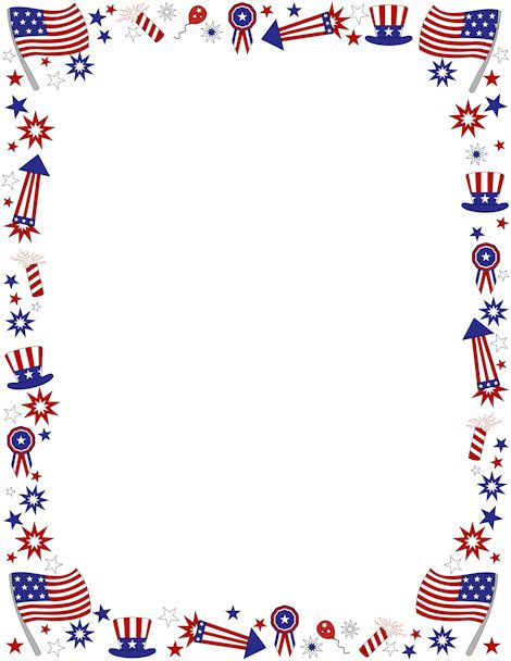 Patriotic page border featuring American flags and other items in