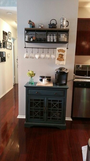 Finally made my own coffee/tea station. I love it! Shelf is from hobby lobby. Cabinet is from TJ maxx/Homegoo