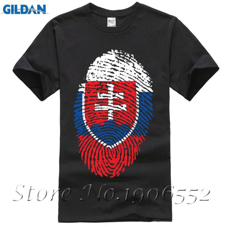 Hip Hop Short Sleeve Cotton Slovakia Flag Fingerprint Men's t shirt Teenage t shirts Cheap Sale Sale 100 % Cotton T Shirt #Affiliate