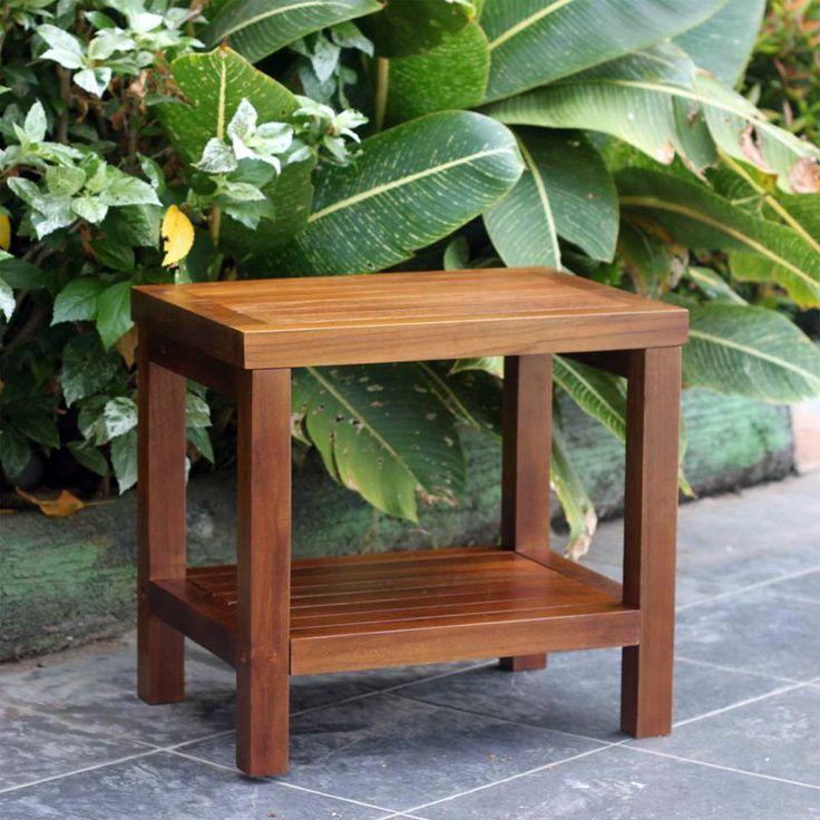decoteak classic teak spa shower stool with shelf no arms dt11