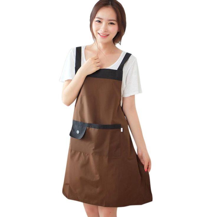 Новинка женщин фартук кухня ресторан нагрудник кулинария фартуки с карманами бесплатная доставка купить на AliExpress