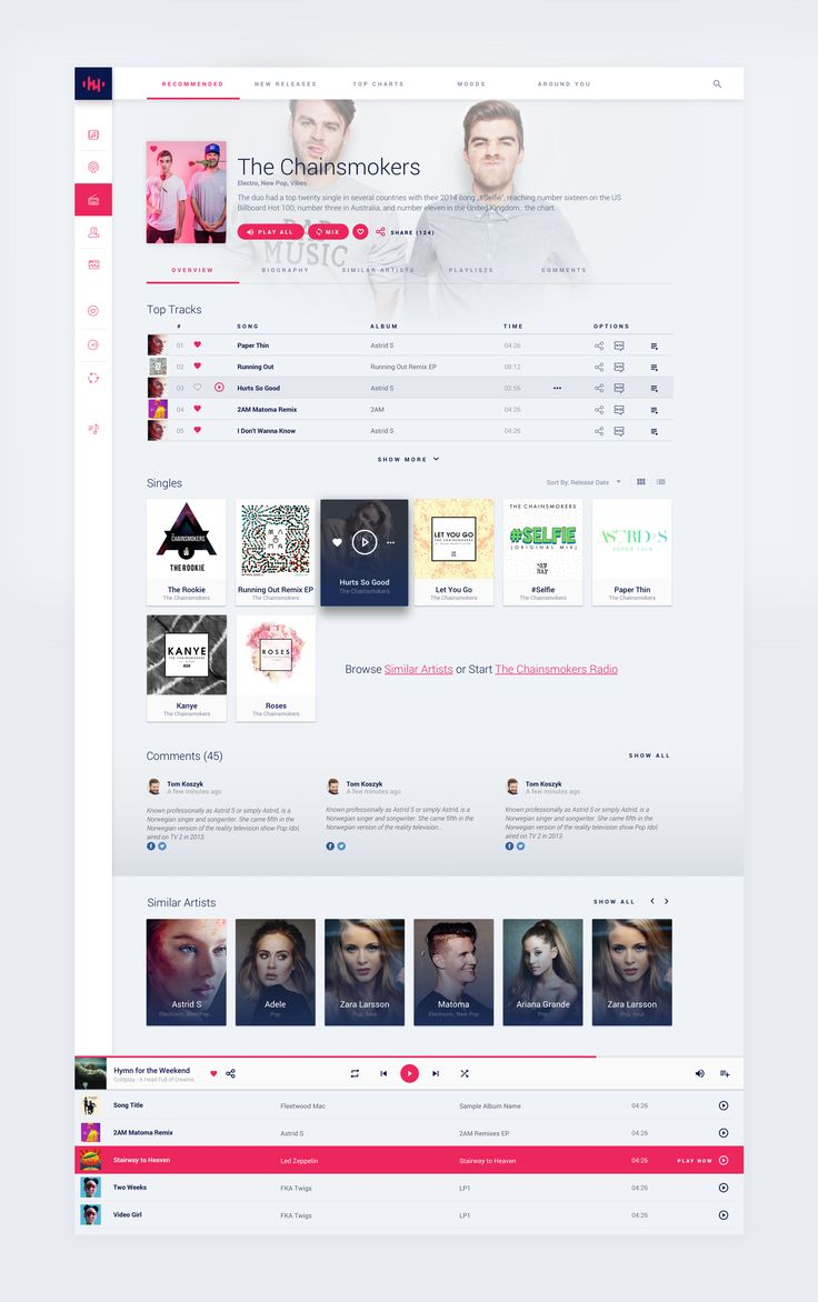 Online Music Streaming Service - Artist Page Light