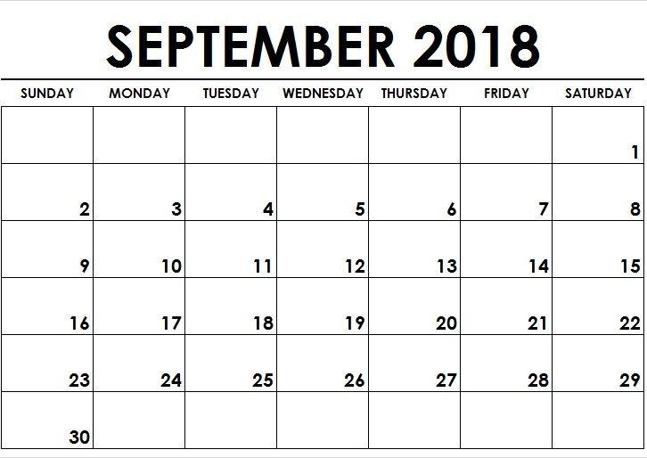 Print Blank Calendar September 2018 Tumblr September 2018