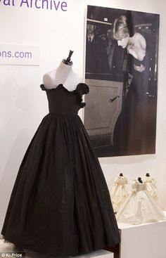 Diana's famous strapless black taffeta dress, designed by Elizabeth and David Emanuel, went under the auction hammer in 2012. This dress caused a slight controversy because of it's plunging neckline and the fact that it was in black - usually worn during mourning in royal circles - not to black-tie events! But Diana was quite stunning and caused quite the stir!