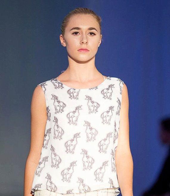 Unicorn Fashion Print Top Sleeveless Chiffon by MaybeByCatalfo