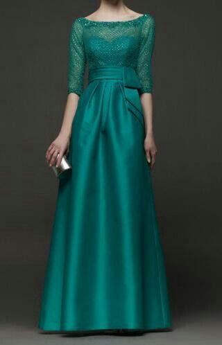 Vestido Longo - verde com aplicação em renda - Madrinha