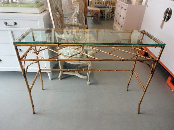 Italian Gilt FAUX BAMBOO Console With Inset Glass Top In Nice As Found  VINTAGE Condition. There Are Scuffs And Scrapes To The Original Gold Gilt  Finish.