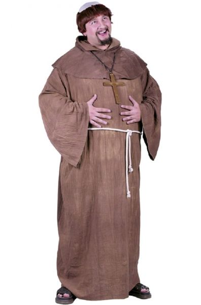 Adult Plus size Medieval Monk Costume - Robin Hood - Friar Tuck   The Medieval Monk Plus Size Costume is a 4 piece set that includes a long brown robe, a hood with attached caplet, a wig and white rope belt. The robe comes with full sleeves.