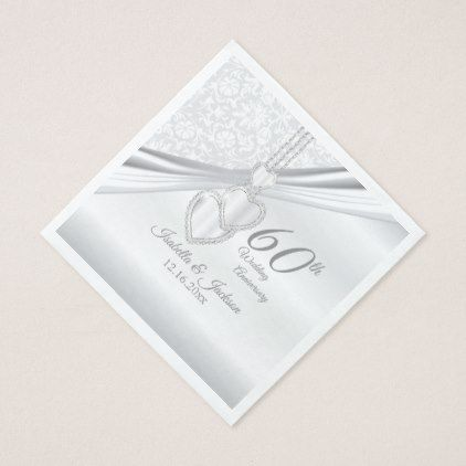 60th Diamond Wedding Anniversary Paper Napkin - married gifts wedding anniversary marriage party diy cyo