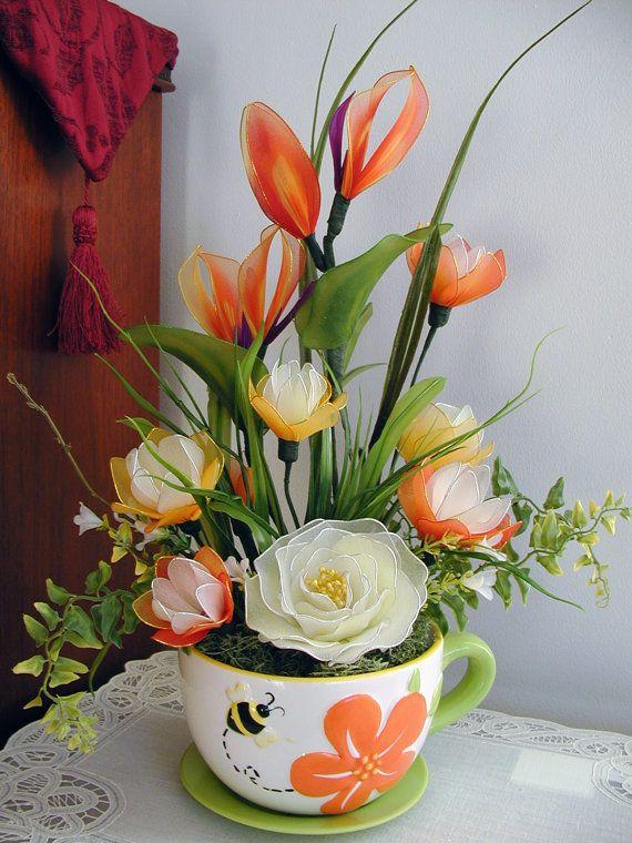 Handmade Colorful Nylon Flower Arrangement by LiYunFlora on Etsy, $40.00