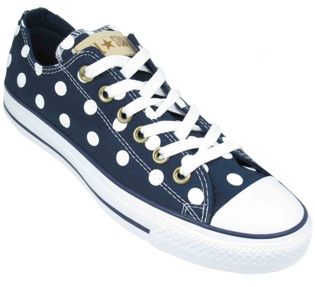 ***Converse Womens Shoes All Star Ox Low Polka Dot Navy