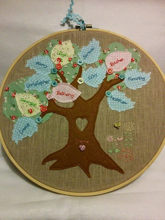 Family tree commission for a 90 year old lady. Brief - pastels, vintage style with lots of embellishment. Used a combination of applique and embroidery, both machine and hand.