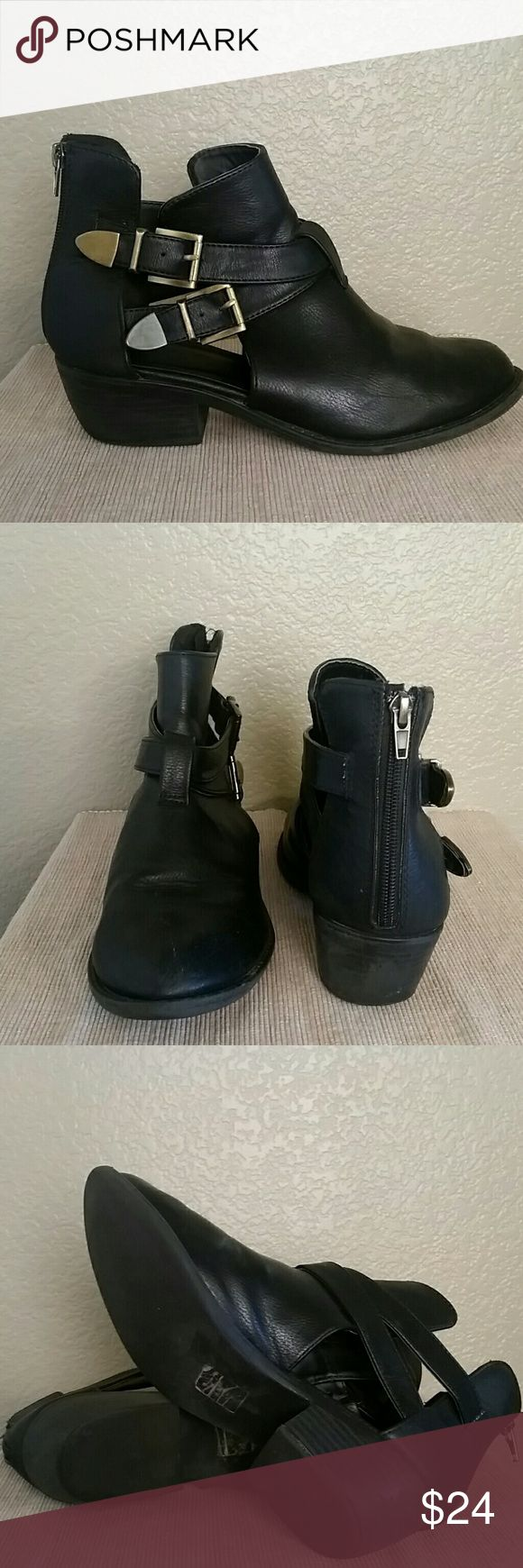Black cutout ankle boots Black cutout boots, soda, size 9-no tag, worn but still super cute. Soda Shoes Ankle Boots & Booties