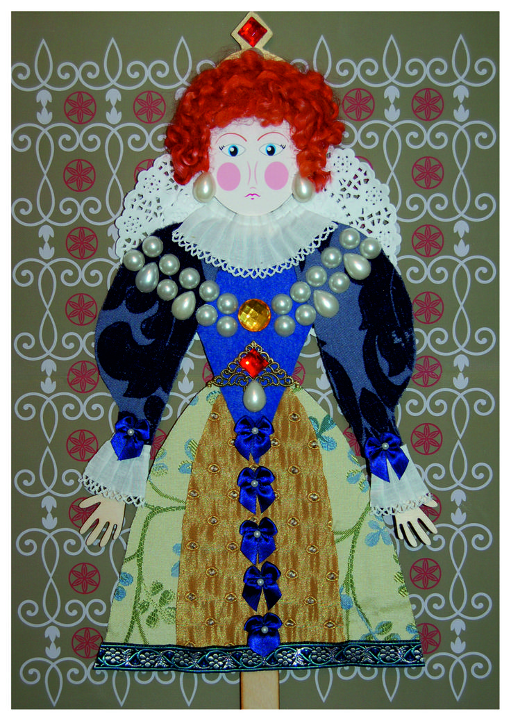 Elizabeth I Stick Puppet Kit. Everything you need to make this beautiful puppet, including a song all about her. #puppets #kidscrafts #tudor #teachingideas