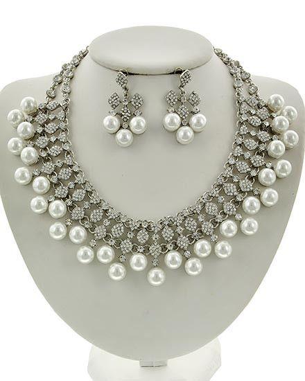 Platinum Pearl & Rhinestone Necklace & Earring Set