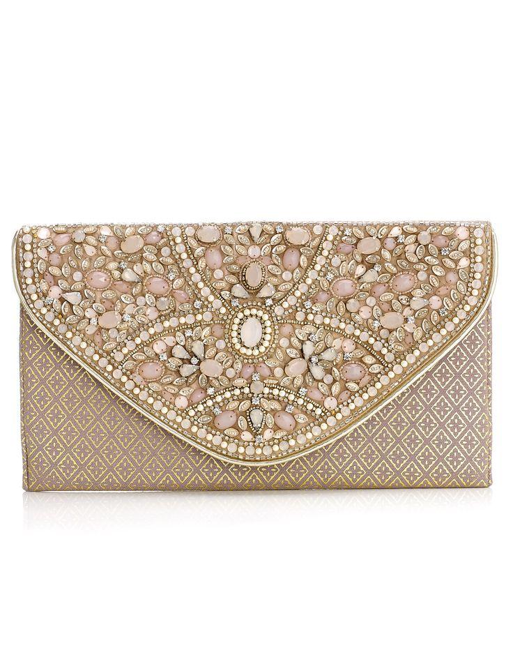 Charlotte Heavy Gem Envelope Clutch   Pink   Accessorize