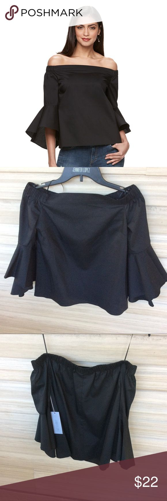 JLo Off the Shoulder Top Black statement top to show off your shoulders and eye catching bell sleeves.   >Condition: New  🚫 No Trades ✅ Discounted Bundles ✅ Reasonable Offers Jennifer Lopez Tops Blouses