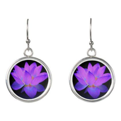 Purple Lotus Flower Drop Earrings - jewelry jewellery unique special diy gift present