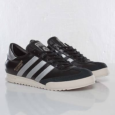 adidas beckenbauer black leather trainers