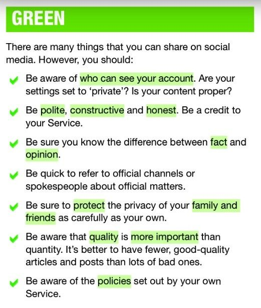 What information can I share on social media?  via @SoldierUK  GREEN   AMBER   RED