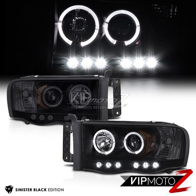 SINISTER BLACK 2002-2005 Dodge Ram 1500 Halo LED Head Lights 03-05 Ram 2500 3500 #VIPMOTOZ