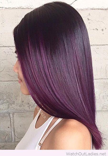 Cool dark purple ombre hair color idea