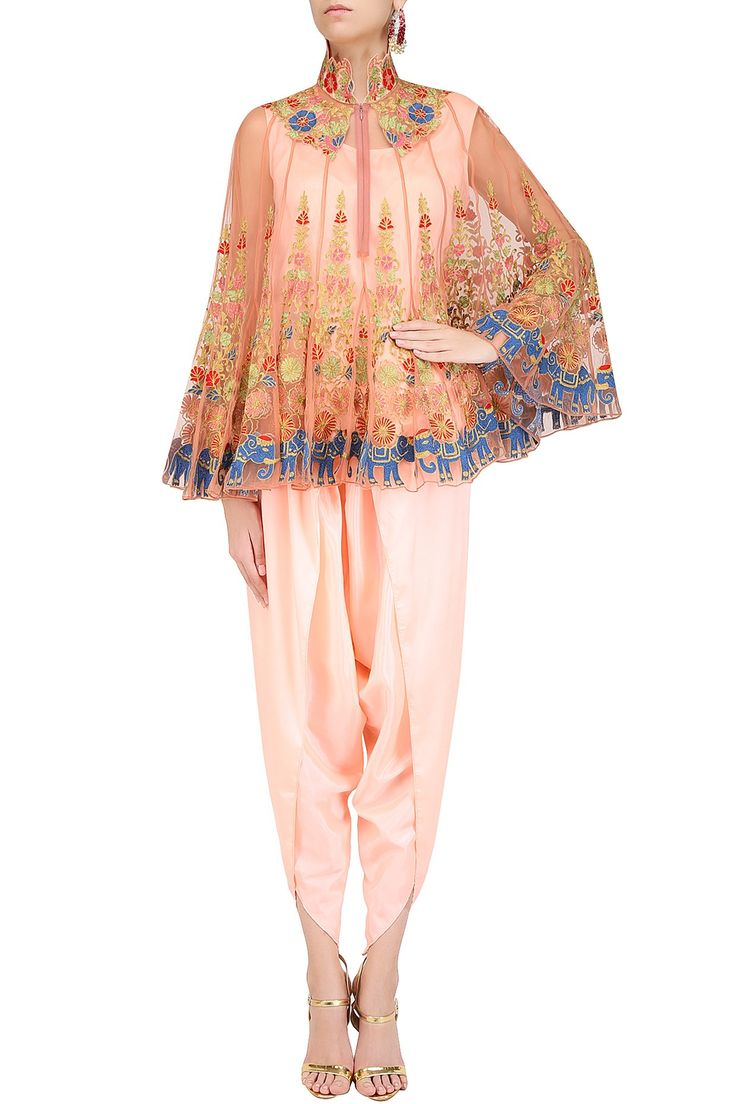 SONALI GUPTA | Pink floral embroidered cape with camisole and dhoti pants available only at Pernia's Pop Up Shop.