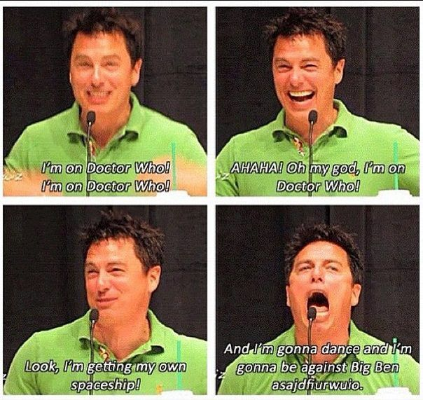 captain jack/john barrowman. I feel like I would have a similar reaction if I was ever put on Doctor Who.