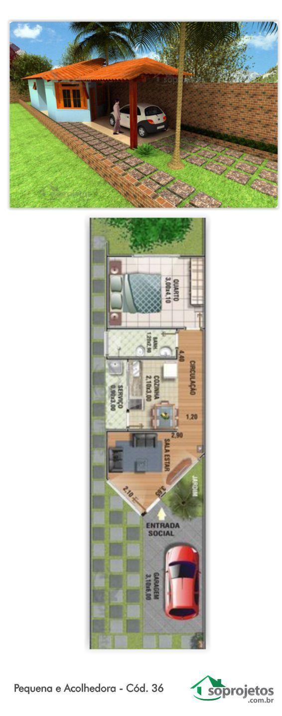 ÓTIMA RESIDÊNCIA DE UM QUARTO. PARA TERRENO PEQUENO DE 5 METROS DE FRENTE.  Com garagem coberta com 16,41 m². Projeto de casa com 1 dormitório. E sala de estar aconchegante Possui cozinha com copa e área de serviço. Telhado em várias águas.