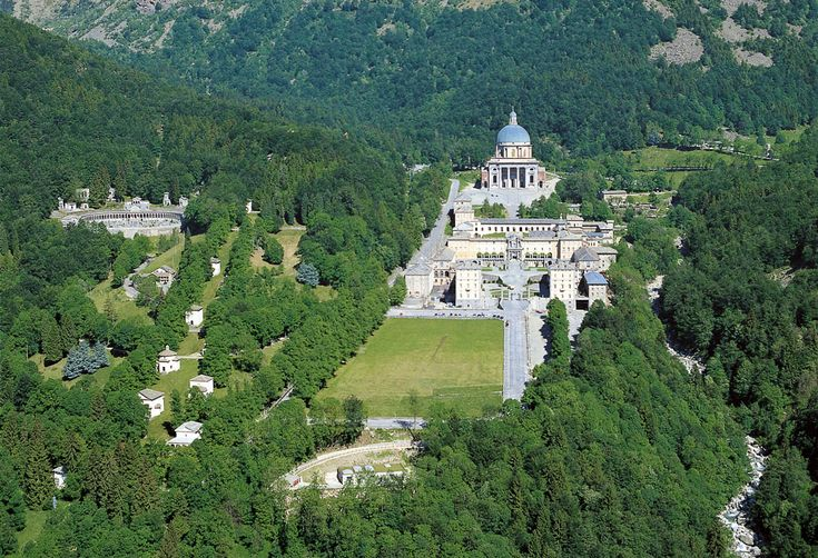 Santuario d'Oropa, Santuary upon the hill in, Oropa, Biella, Italy.