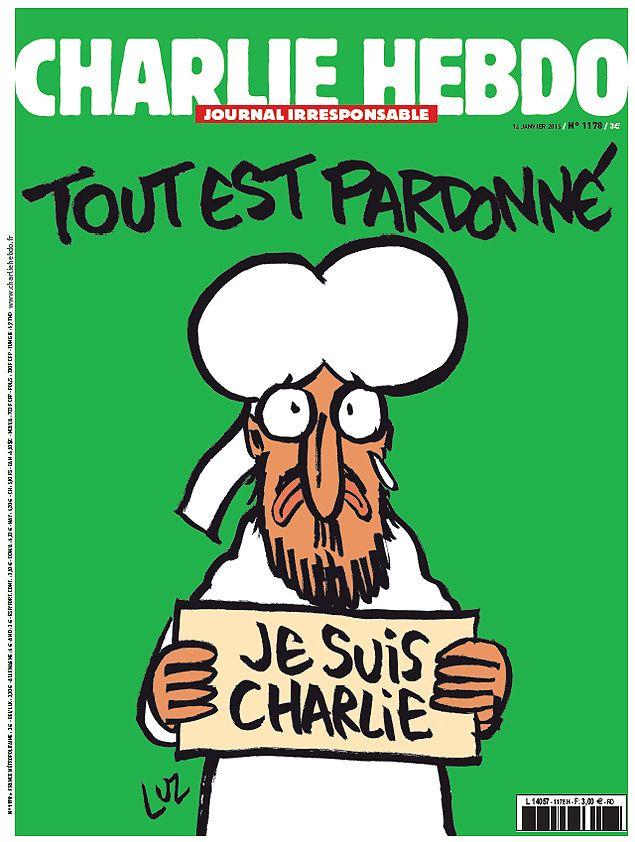 """""""Tudo é perdoado"""" é a frase principal da capa da primeira edição do """"Charlie Hebdo"""" após o ataque"""