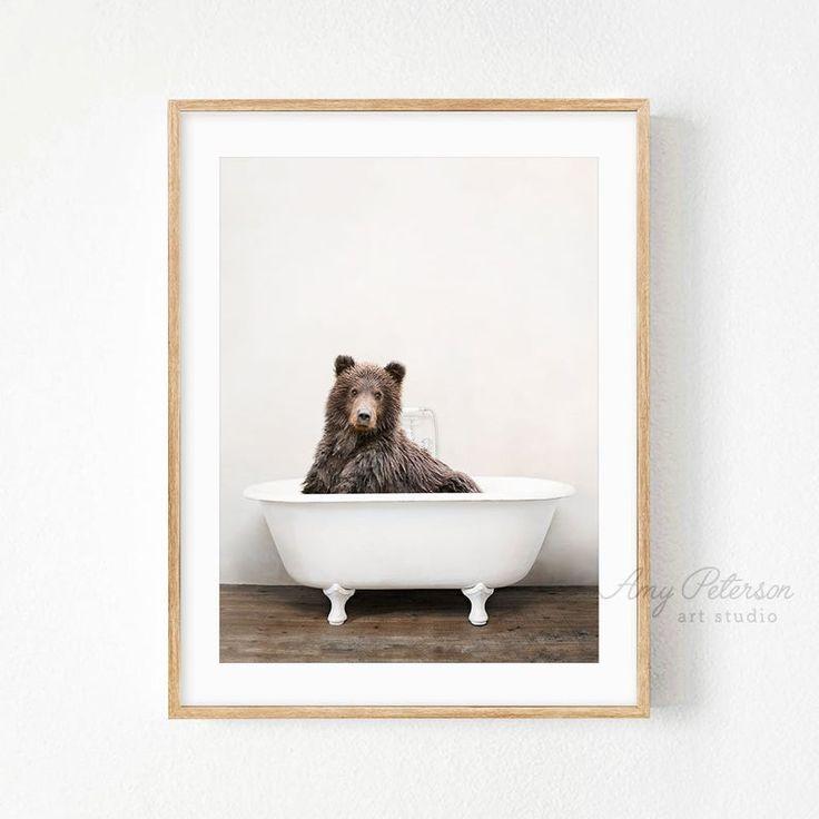 Bear bathtub funny bear taking a bath bathroom art bear