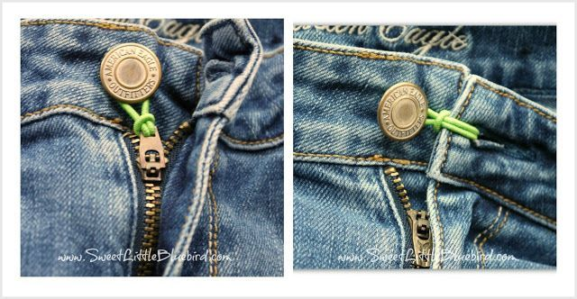 Quick easy no sew fix for too tight to button pants and ...