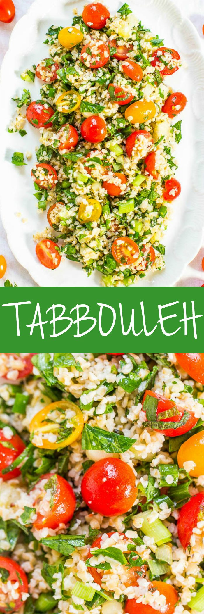 Tabbouleh - Never had it? Think couscous or quinoa mixed with vegetables, herbs, lemon and olive oil! Easy, no cooking required, healthy, and packed with so much flavor!! (Great for outdoor events because there's no mayo!) #FourthofJuly #LaborDay