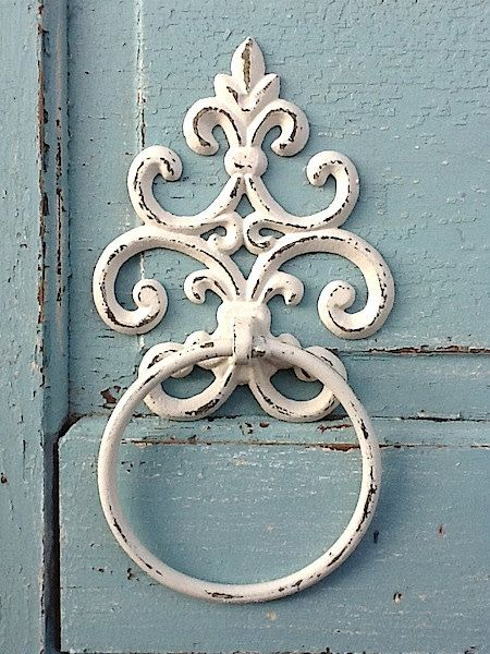 Old World ,Cast Iron Towel Holder, Shabby Chic White, Distressed, Bathroom Fixture.  via Etsy.