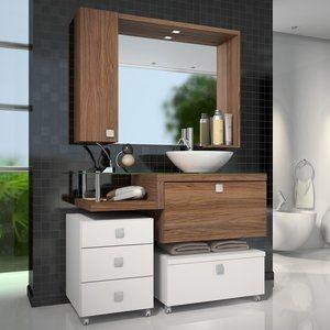 Gabinete para Banheiro com Espelheira Vicenza Celta Móveis (Não acompanha cuba) Branco/Nogal Sevilha