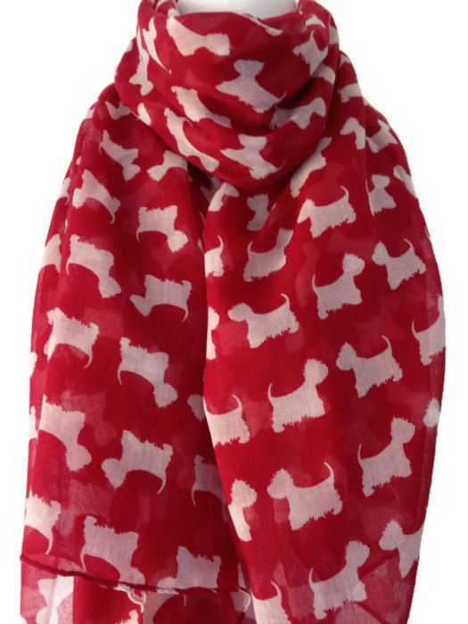 Westie Dog Scarf  Ladies Red and White Westie Scarf  West