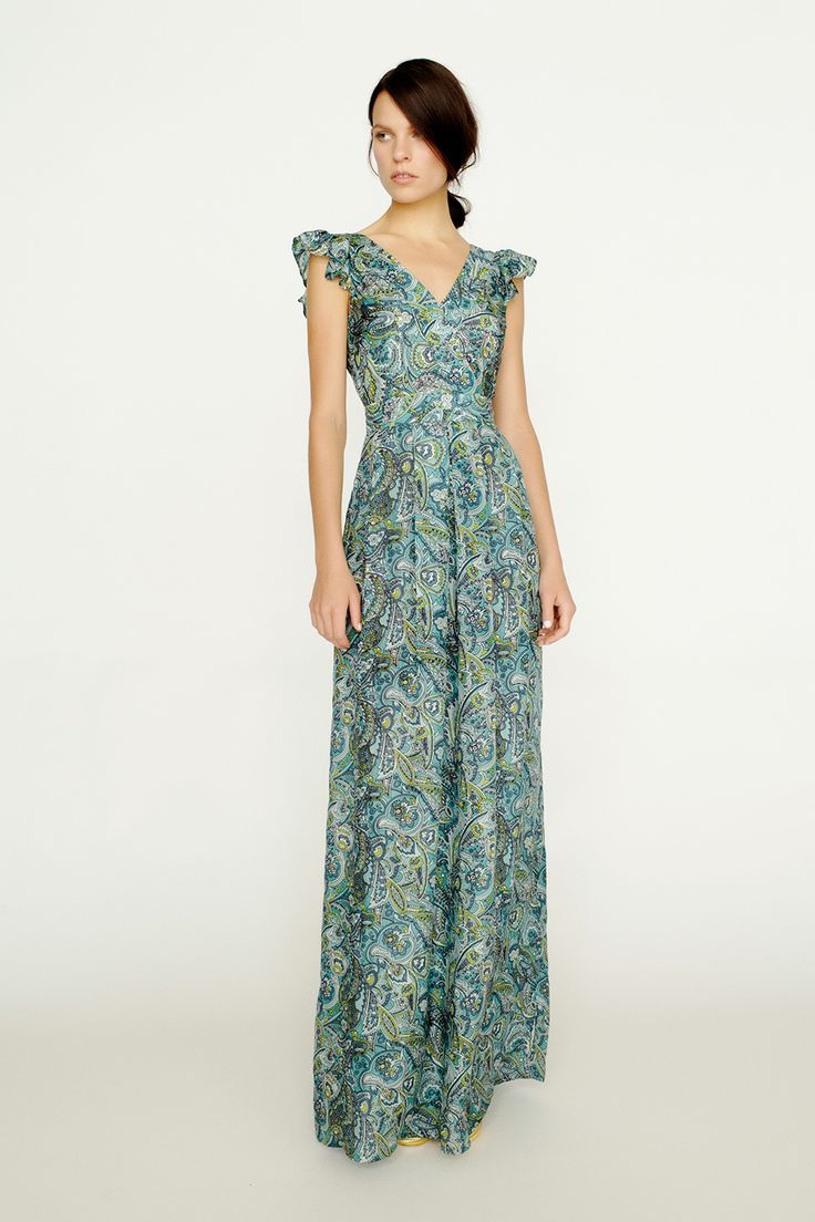 collette by Collette Dinnigan Frill Sleeve Printed Maxi