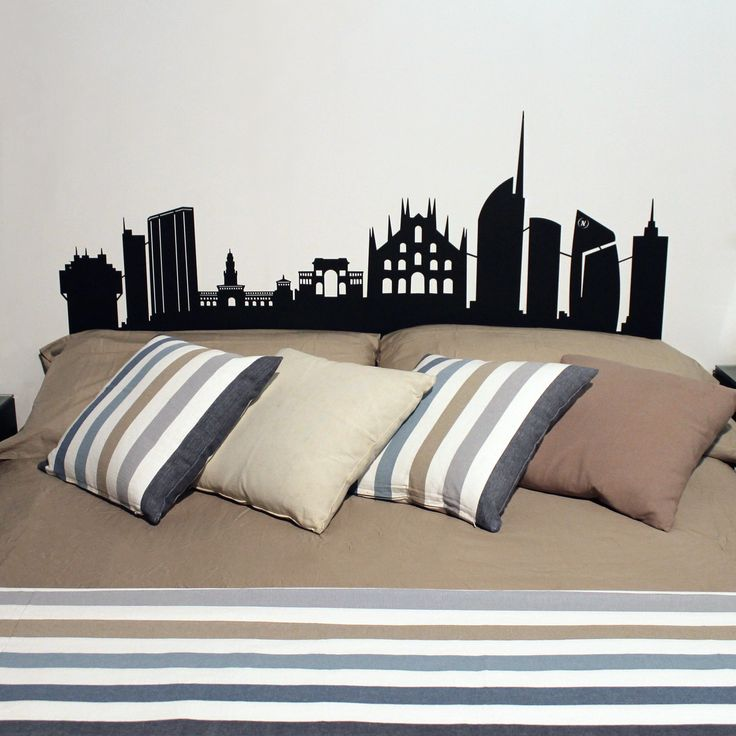 SKYLINE Headboards. Headboards for double bed with modern design made of metal with laser cutting technology. Wedding present. nikla.eu