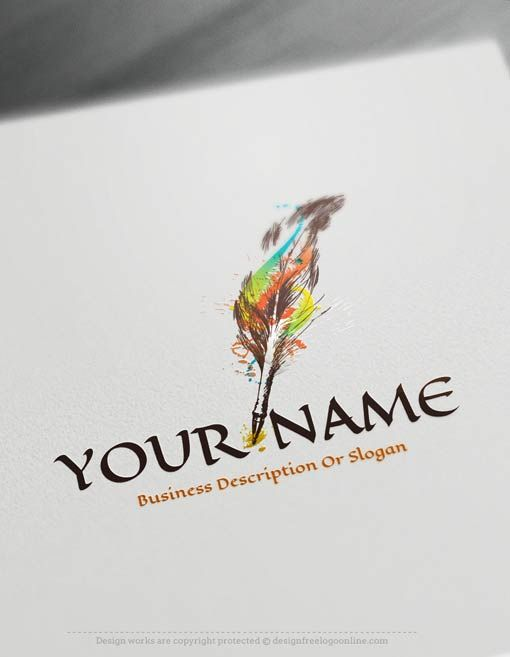 Design Free Logo: Create Online quill pen Logo Template
