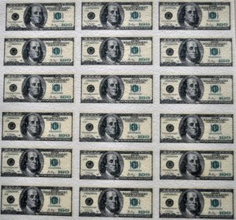 """Edible Wafer Sheet of Mini 100 Dollar Bills. Images are printed on solid 8 X 10"""" wafer sheet and need to be cut out. 20 Per sheet. Measure approx, 2 1/2"""" Long by 1"""" High"""