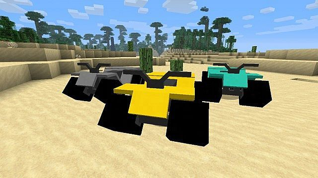 ATV Revived Mod adds ATVs to Minecraft.There are three tiers of ATVs based on how powerful the engine is. Tier 1 is the slowest and Tier 3 is the fastest. Recipes ATV Body Parts To craft the Tier 1 engine To craft the Tier 2 engine To craft the Tier 3 engine To get rubber Petroleum Product Synthetic Rubber To craft the tire To craft the seat To craft the handle bars To craft the axles To craft the wheels To craft the body Now that you have all