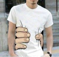 Wish | Fashion Unisex Short Sleeve Sleeved Printing Funny Big Hand T Shirt Tee For Fat Big Men Boys Women Girls
