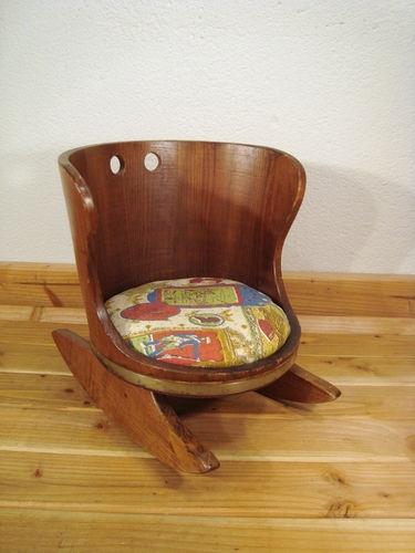 Vintage Wooden Wood Barrel Round Child Doll Rocking Chair