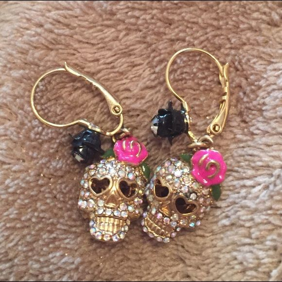 Betsey Johnson Skull Earrings I've never worn these so they're brand new. They sell for $40 at Macy's. Betsey Johnson Jewelry Earrings