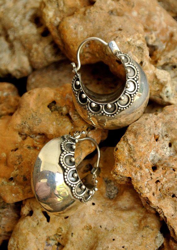 Sterling Balinese Hoop Earrings by SmallWorldofTreasure on Etsy,